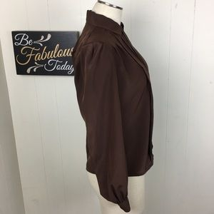 Vintage Tops - Vintage Brown Button Down Pin-tuck Blouse